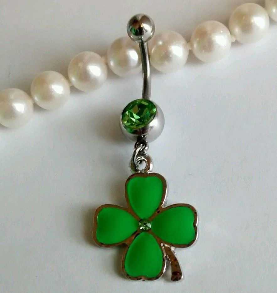 Four Leaf Clover Lucky Charm Green Belly Button Ring 316L Stainless Pertaining To Best And Newest Dangling Four Leaf Clover Rings (View 13 of 25)