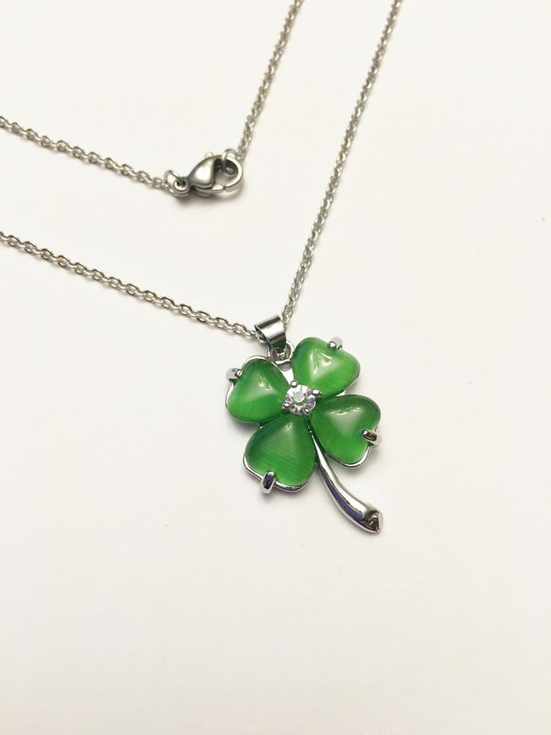 Four Leaf Clover Lucky Pendant Necklace, Shamrock, Ireland, Irish Jewelry, Gift For Her, Womans Necklace, St (View 9 of 25)