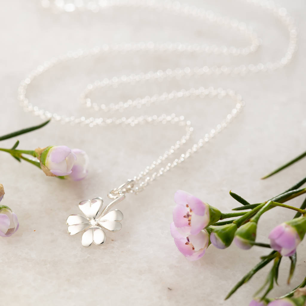 Four Leaf Clover Necklace And Personalised Message Card Intended For Latest Four Petal Flower Necklaces (View 11 of 25)