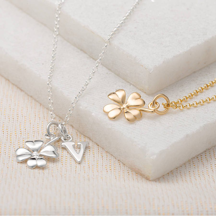 Four Leaf Clover Necklace And Personalised Message Card Regarding Current Lucky Four Leaf Clover Y  Necklaces (Gallery 8 of 25)