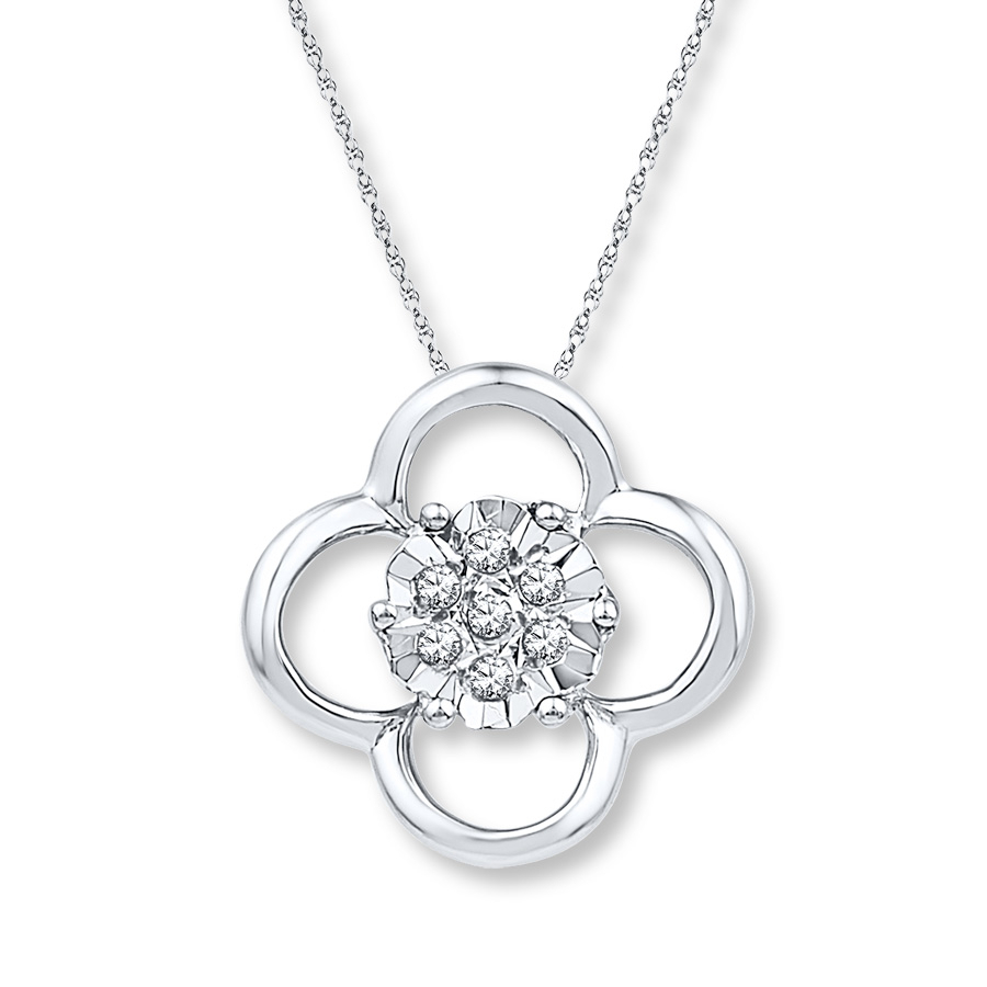Four Leaf Clover Necklace Diamond Accents Sterling Silver With Most Recent Lucky Four Leaf Clover Locket Element Necklaces (Gallery 19 of 25)
