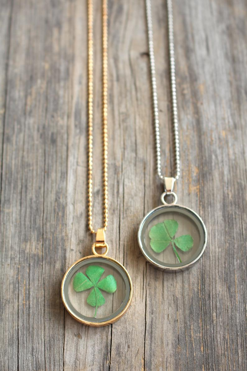 Four Leaf Clover Necklace – Good Luck Charm Gift Pendant – Pressed Flower  Jewelry – Make A Wish – St Patrick's Day Gift Inside Most Current Lucky Four Leaf Clover Dangle Charm Necklaces (Gallery 1 of 25)