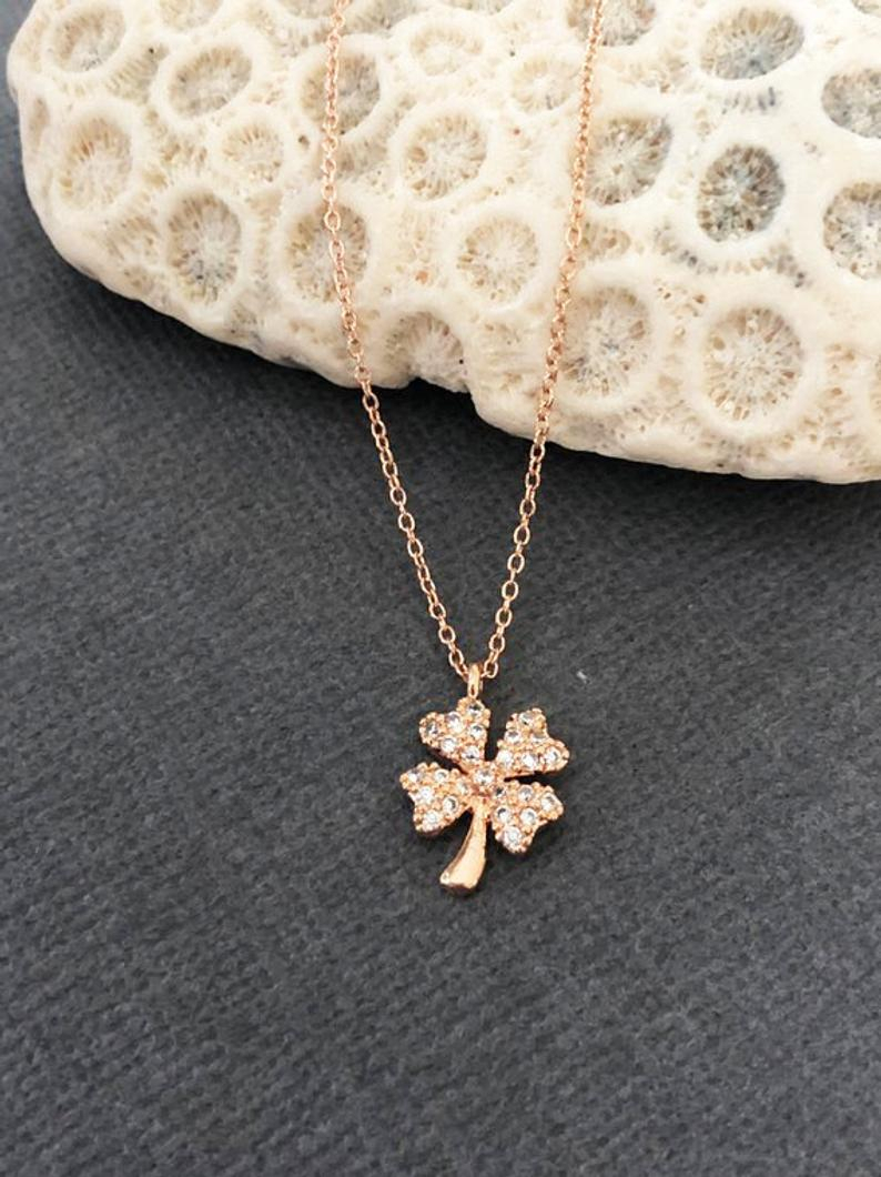 Four Leaf Clover Necklace, Good Luck Four Leaf Jewelry, Dainty Clover Charm  Necklace, Going Away Gift, Gift For Her, Good Karma, Muse411 With Recent Lucky Four Leaf Clover Dangle Charm Necklaces (Gallery 18 of 25)
