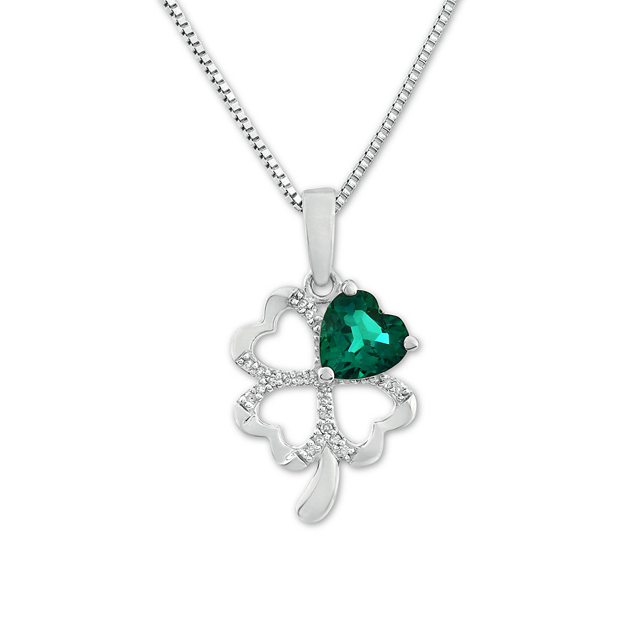Four Leaf Clover Necklace Lab Created Emerald Sterling Silver Within Most Recent Lucky Four Leaf Clover Locket Element Necklaces (View 7 of 25)