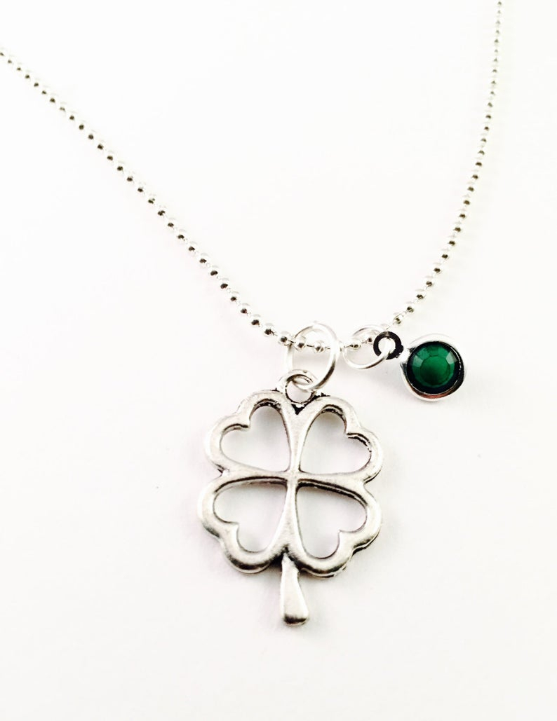 Four Leaf Clover Necklace, Mothers Day, Graduation, Best Friend, Good Luck, Lucky Clover Charm Necklace, Silver Plated Necklace Regarding Most Recently Released Lucky Four Leaf Clover Locket Element Necklaces (Gallery 25 of 25)