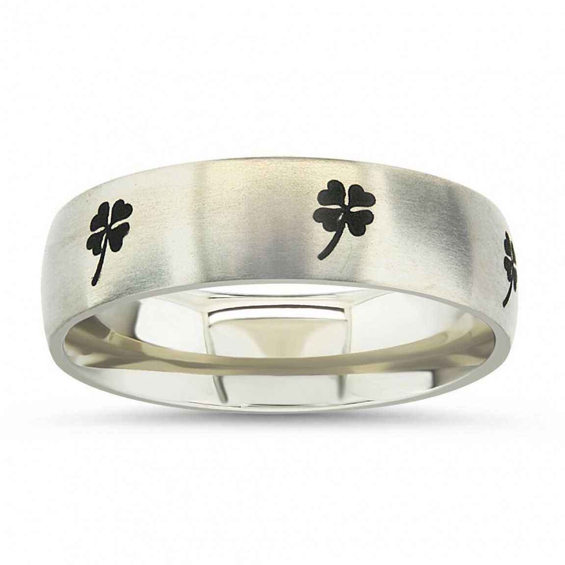 Four Leaf Clover Titanium Ring For Latest Lucky Four Leaf Clover Open Rings (View 8 of 25)