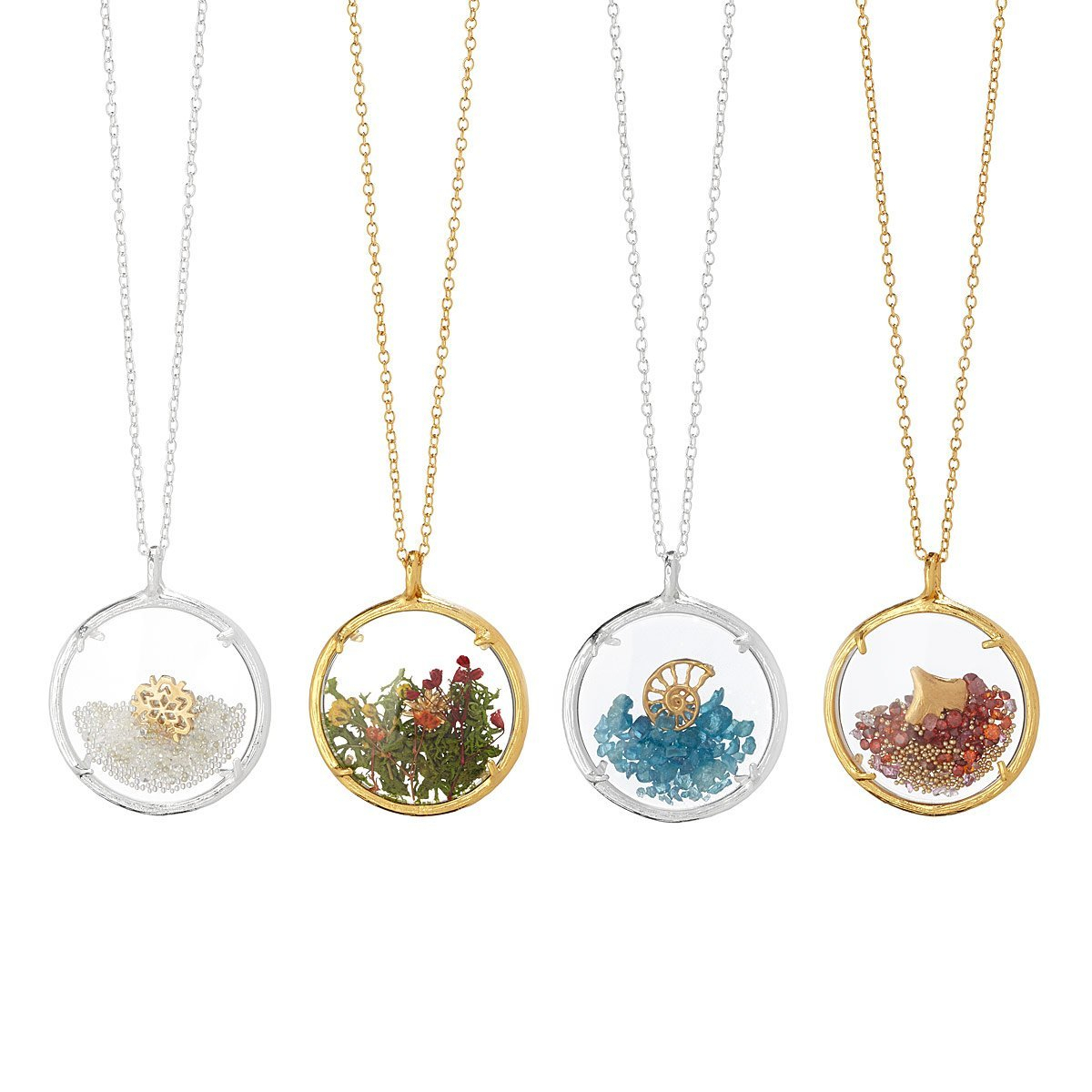 Four Seasons Glass Necklaces | Glass Jewelry, Glass Necklace Intended For Most Recent Classic Flower Locket Element Necklaces (View 14 of 25)
