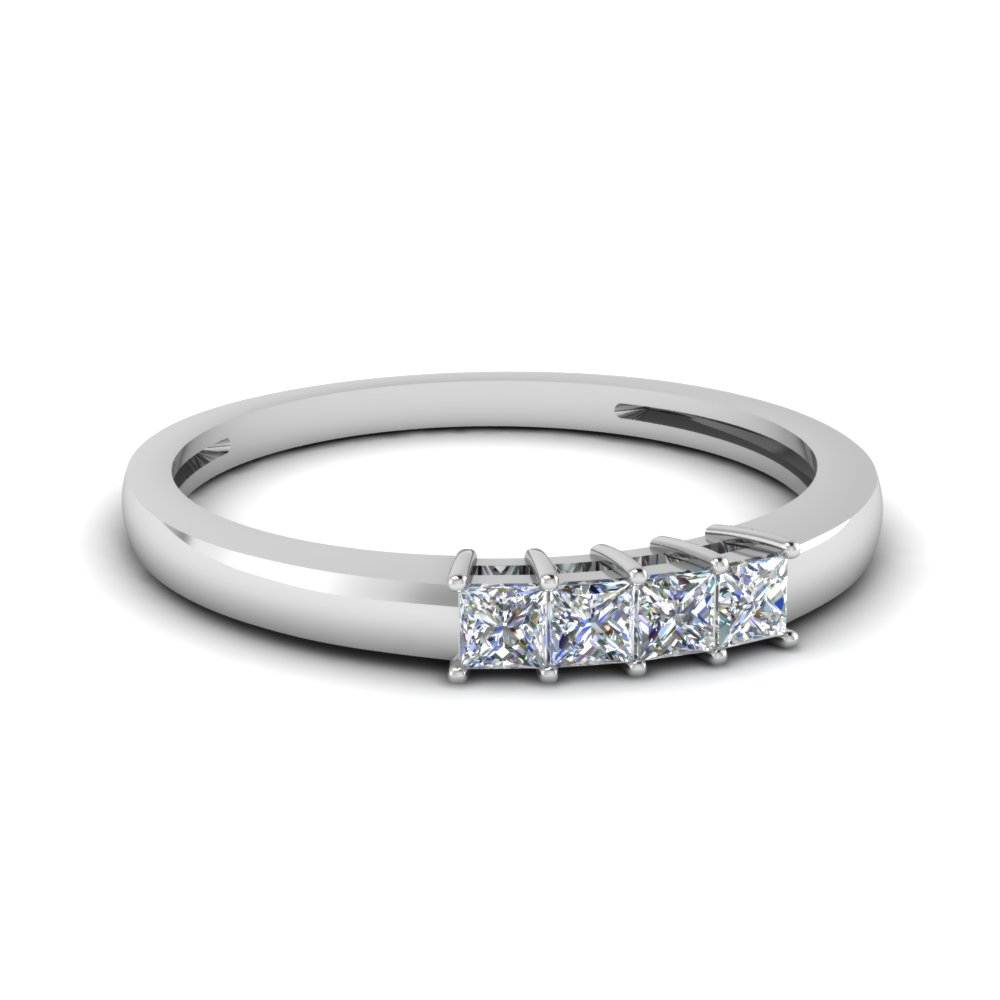 Four Stone Anniversary Band For Her Inside 2020 Certified Diamond Five Row Anniversary Bands In White Gold (View 11 of 25)