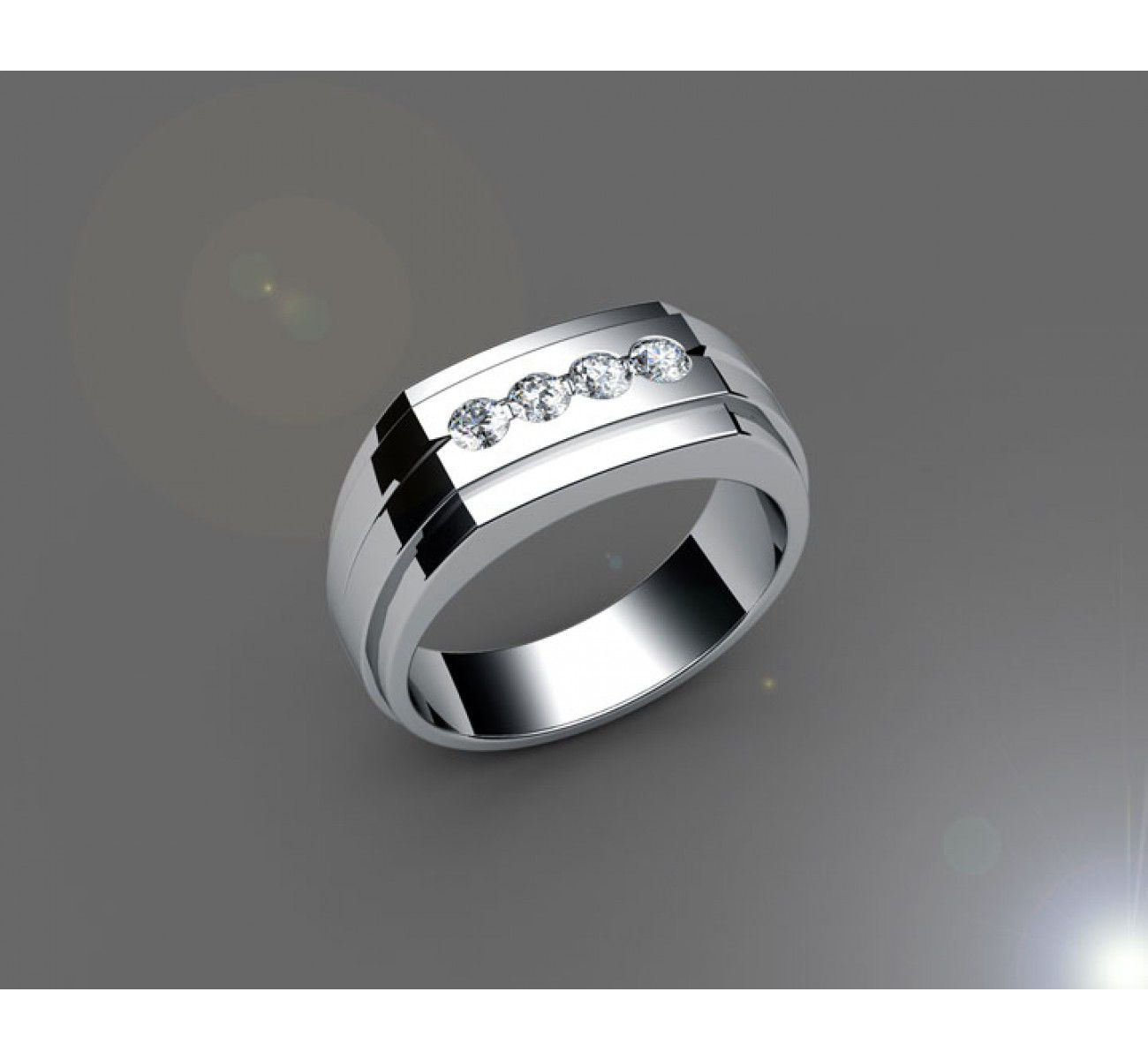 Four Stones Men's Ring In 18k White Gold (2/5 Ct. Tw (View 18 of 25)
