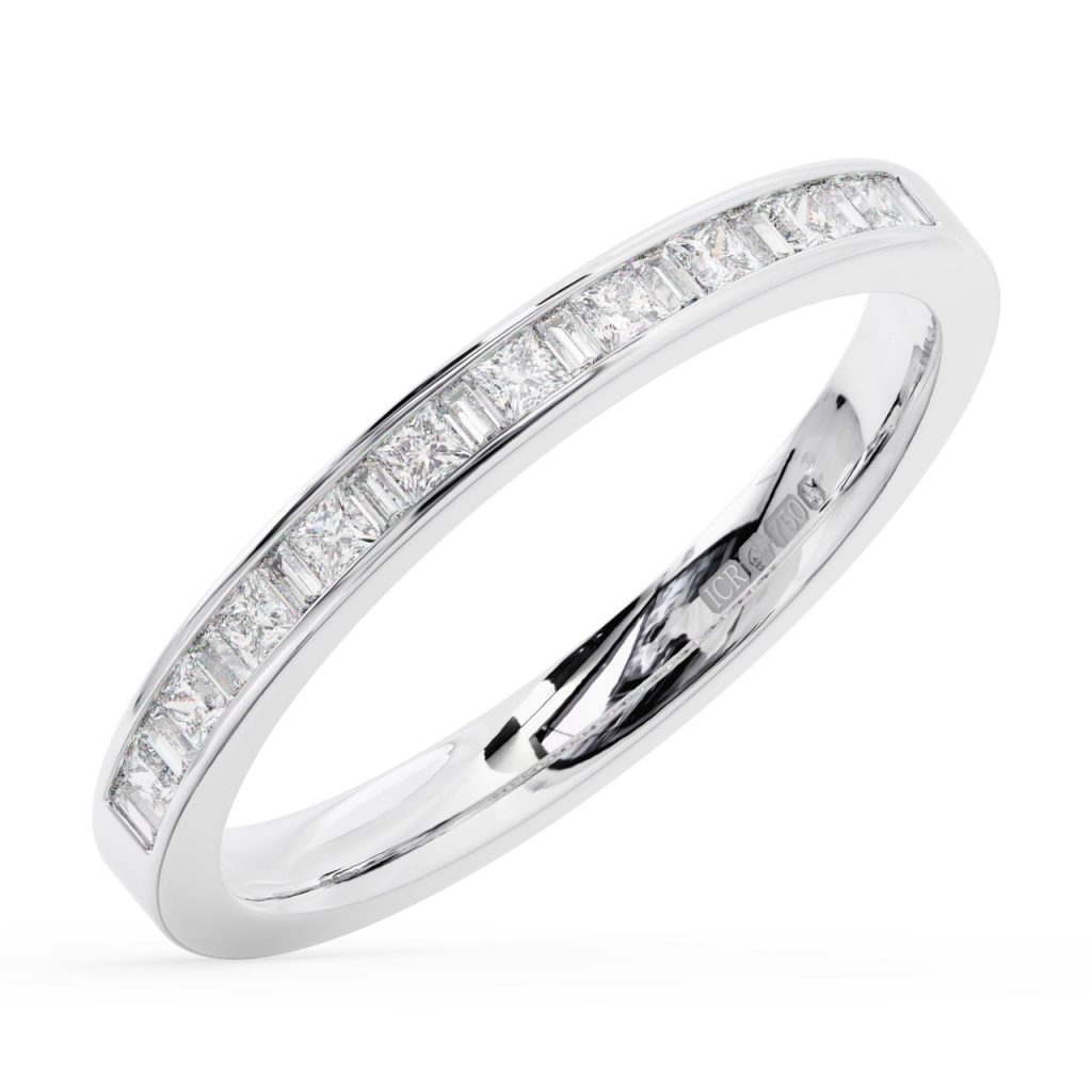 Fr1300 Princess & Baguette Cut Diamonds Half Eternity Ring | Earth Intended For Latest Princess Wishbone Rings (View 11 of 25)