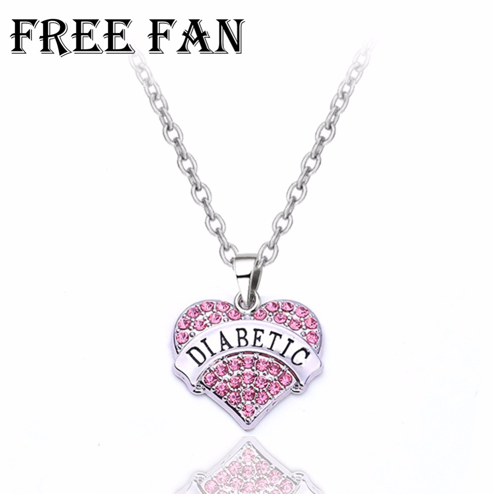Free Fan Diabetic Alert Medical Heart Pendant Necklace Jewelry Lady Cheap  Personalized Necklace For Women Gift Throughout Most Current Heart Fan Pendant Necklaces (Gallery 16 of 25)