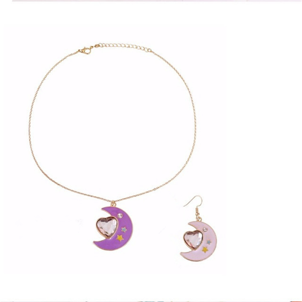 Free Shipping Japanese Style Pink Purple Enamel Moon Inlaid Semi Precious Stones Pendant Love Short Necklace Neck Chain In Pendant Necklaces From In Most Popular Purple Ladybird Locket Element Necklaces (View 16 of 25)