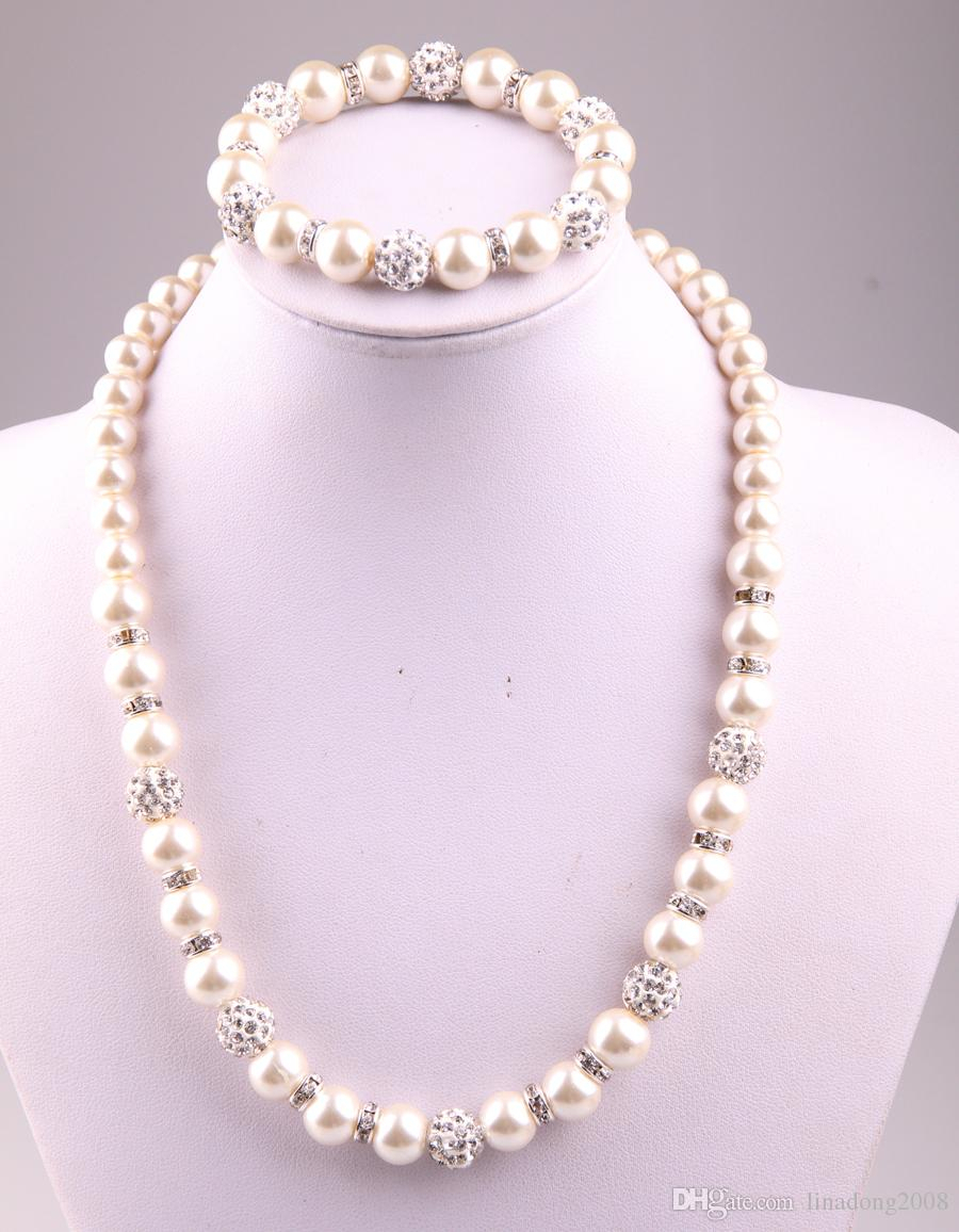 Free Shipping New Arrival 8mm,10mm Crystal Glass Pearl Beads And Disco Pave Ball Necklace Bracelet Jewelry Set Regarding Latest Beads & Pavé Necklaces (View 2 of 25)