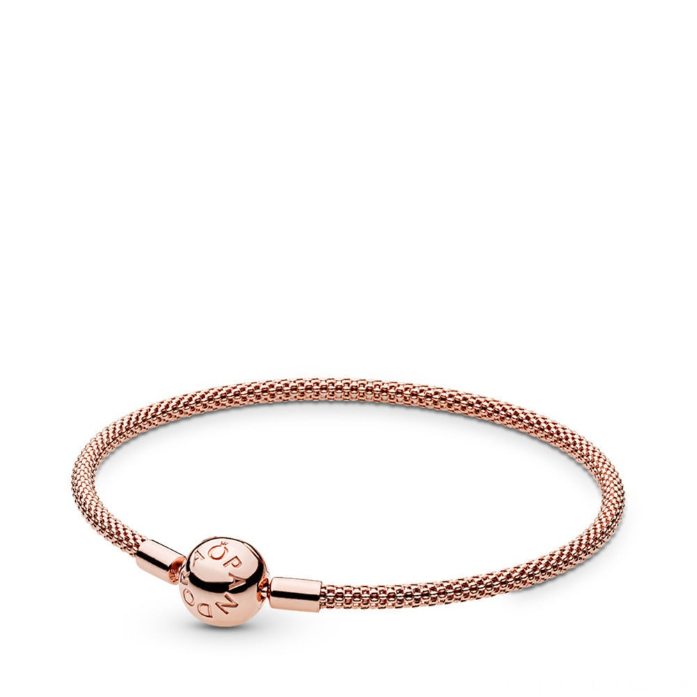 Freeship Pandora Moments Rose Mesh Armband Rose Online – Zeitlich For Most Up To Date Pandora Reflexions Mesh Choker Necklaces (Gallery 21 of 25)