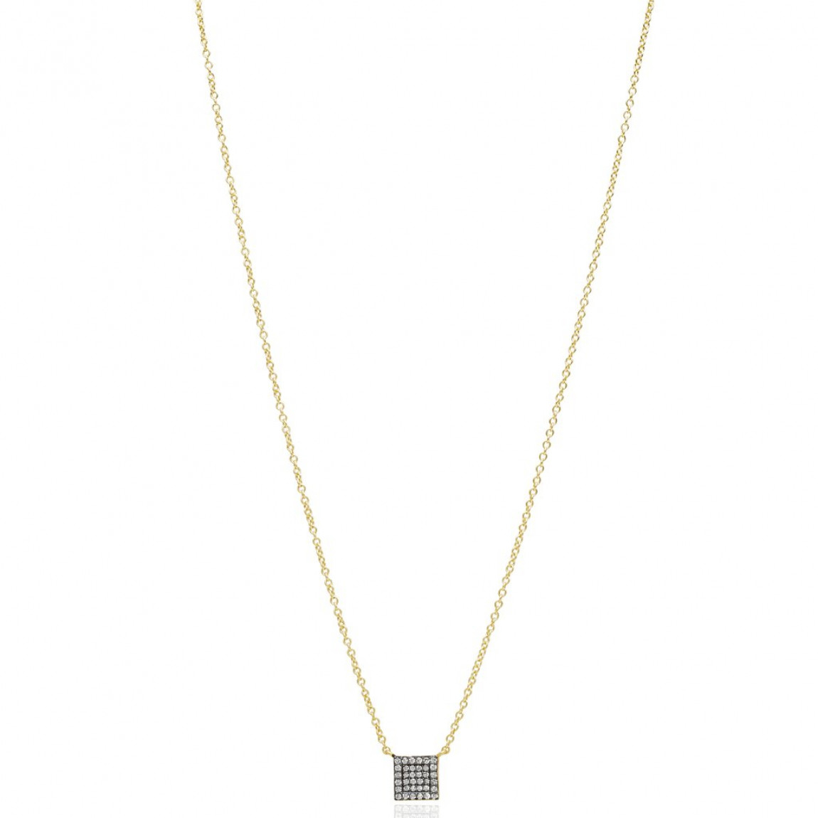 Freida Rothman Pavé Square Pendant Necklace, 14K Yellow Gold And Black Sterling Silver, Cz Within Most Recent Sparkling Square Halo Pendant Necklaces (Gallery 8 of 25)