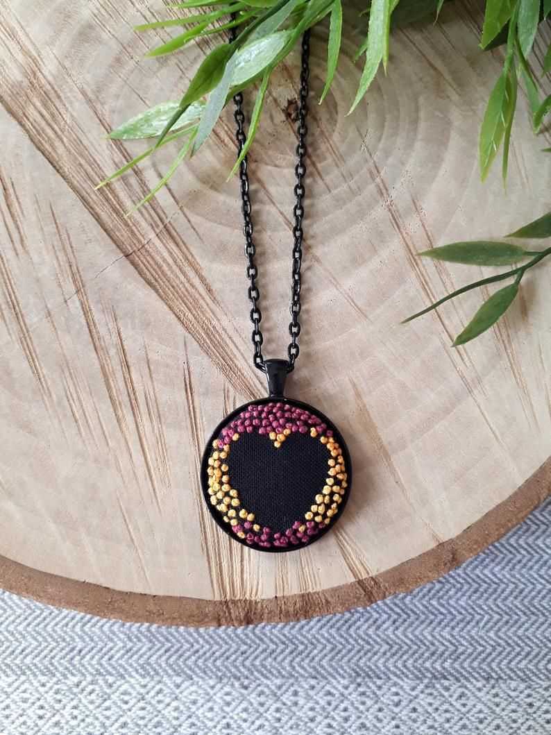 French Knot Heart Embroidery Pendant Necklace, Negative Space Black Heart  Pendant, Hand Embroidered Heart Necklace, Gift For Love, Valentine With Most Current Knotted Heart Pendant Necklaces (View 7 of 25)