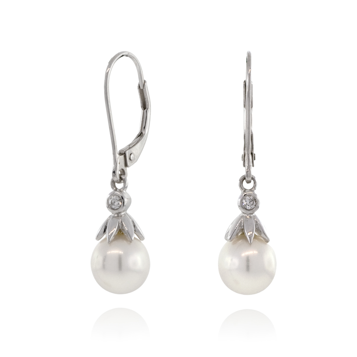 Freshwater Cultured Pearl & Diamond Dangle Earrings 14K Intended For Most Recently Released Dangling Freshwater Cultured Pearl Rings (View 11 of 25)