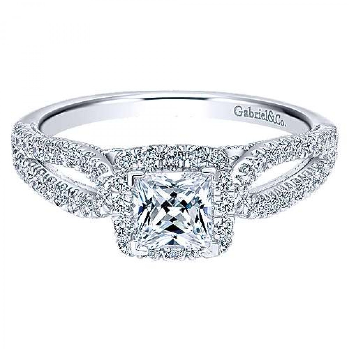 Gabriel & Co. Jackson 14K White Gold Preset Criss Cross Halo Princess  Diamond Engagement Ring (0.76 Ct. Tw (View 15 of 25)