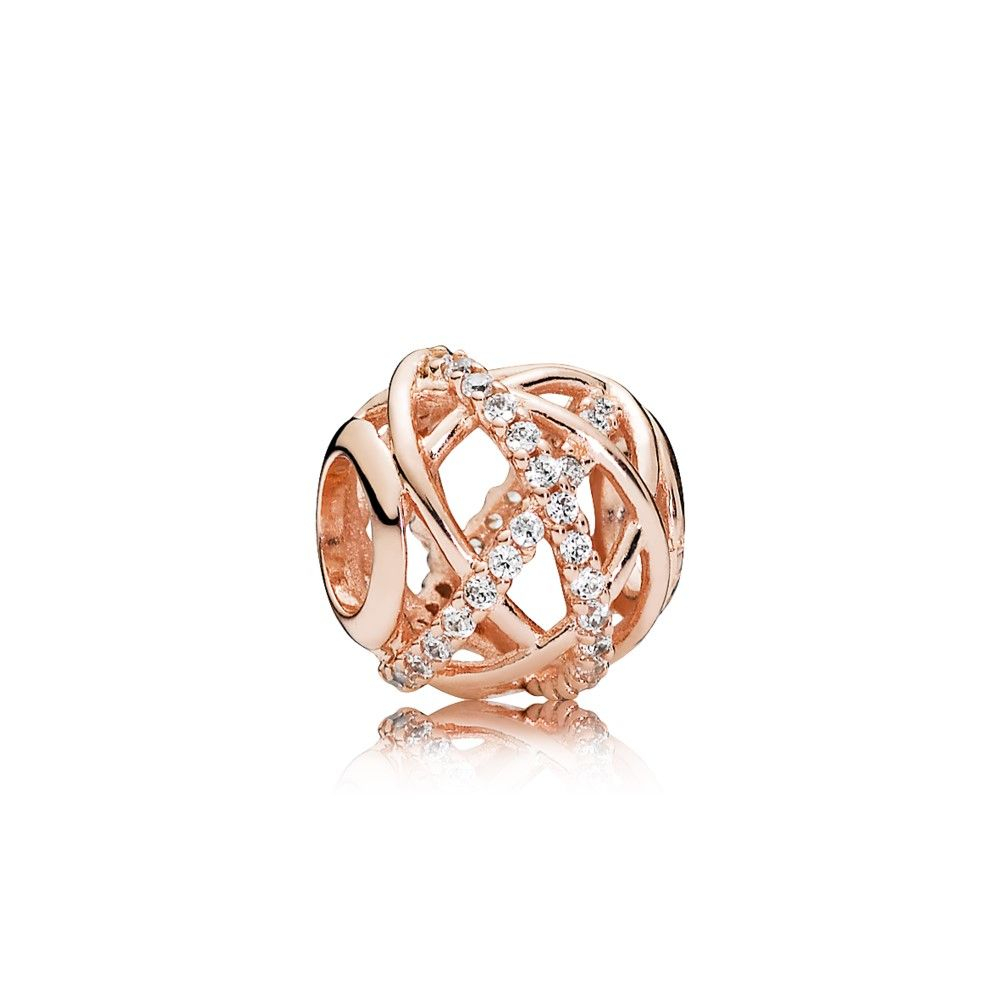 Galaxy Charm, Pandora Rose™ & Clear Cz – 781388Cz | Accessories With Current Sparkling & Polished Lines Rings (View 8 of 25)