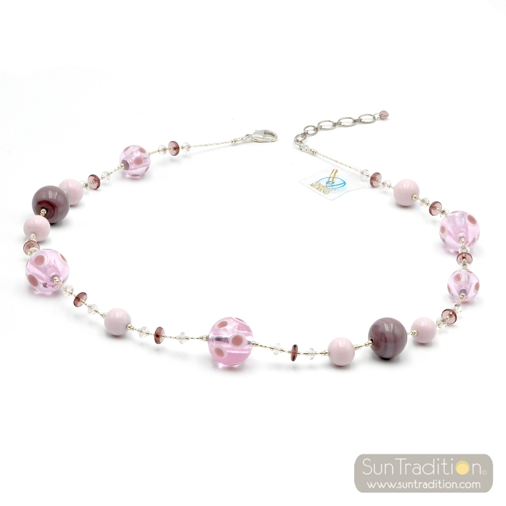 Galaxy Lilac – Pink Murano Glass Necklace Jewel Genuine Murano Glass Of Venice With 2019 Pink Murano Glass Leaf Pendant Necklaces (View 2 of 25)