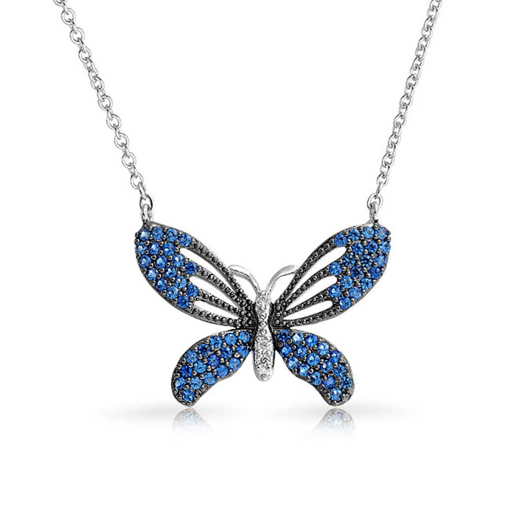 Garden Blue Black Cubic Zirconia Pave Cz Station Butterfly Necklace For Women For Teen Silver Plated Inside Latest Blue Pavé Butterfly Brooch Necklaces (View 6 of 25)