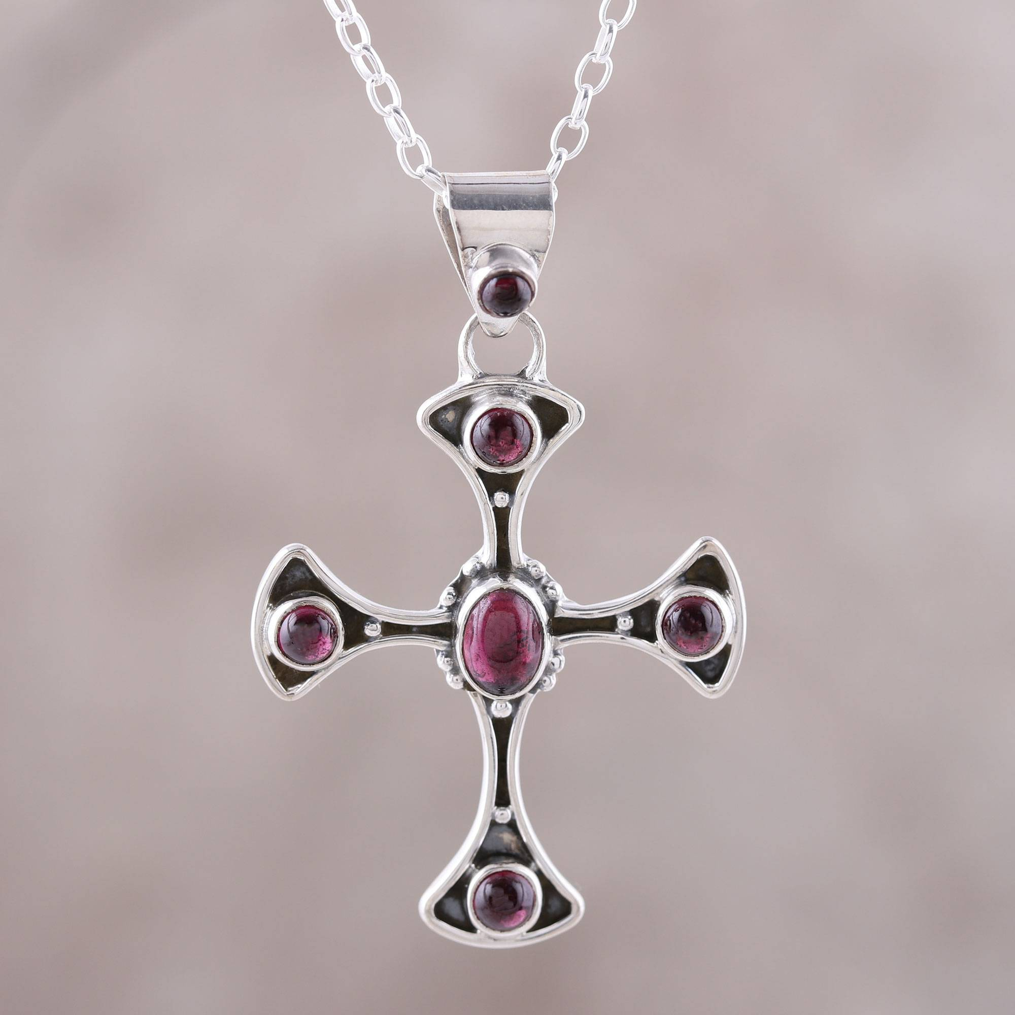 Garnet And Sterling Silver Dot Motif Cross Pendant Necklace, 'beautiful Faith' In Latest Garnet January Droplet Pendant Necklaces (View 18 of 25)