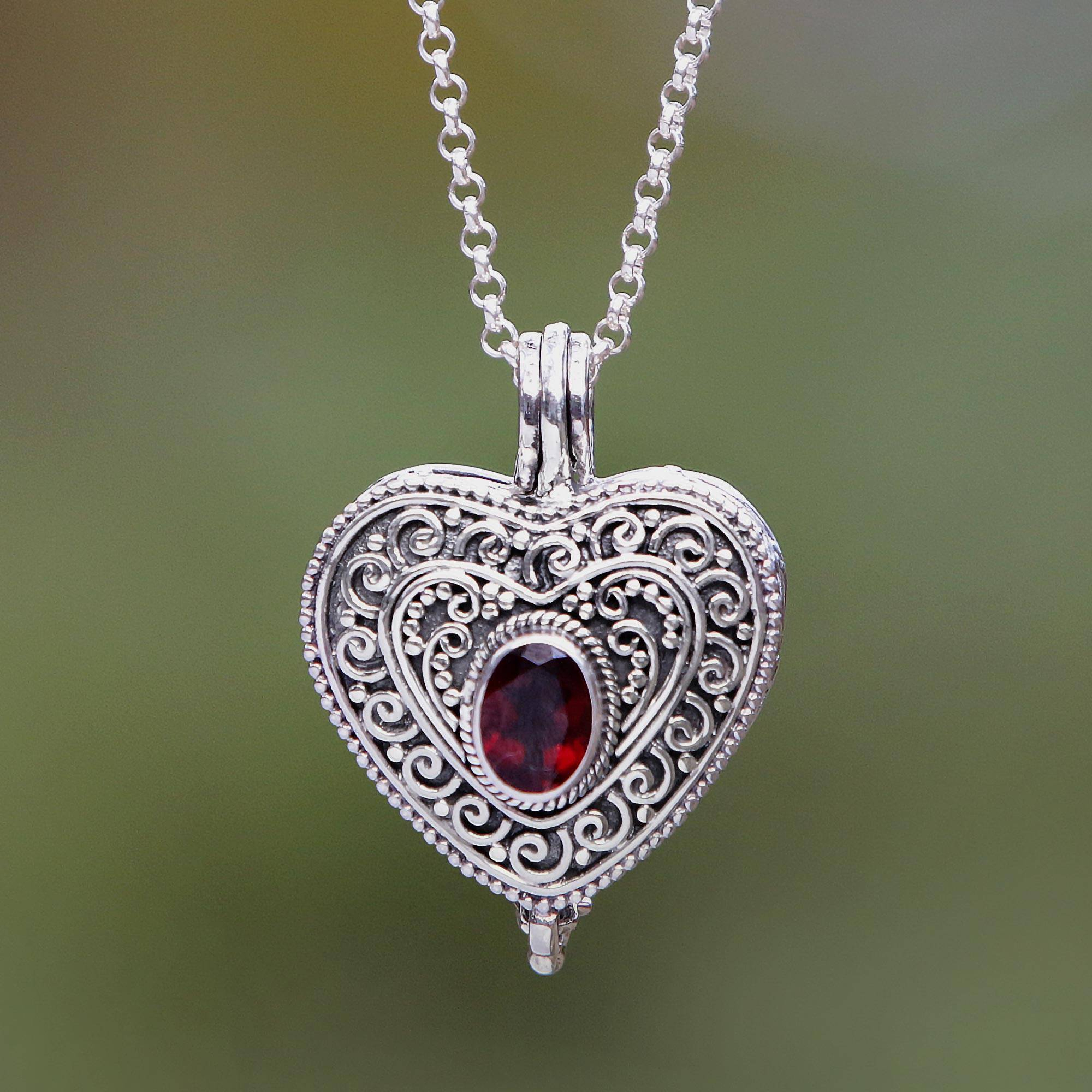 Garnet And Sterling Silver Heart Shaped Locket Necklace, 'always In My Heart' With Regard To Most Popular Garnet Red January Birthstone Locket Element Necklaces (View 14 of 25)