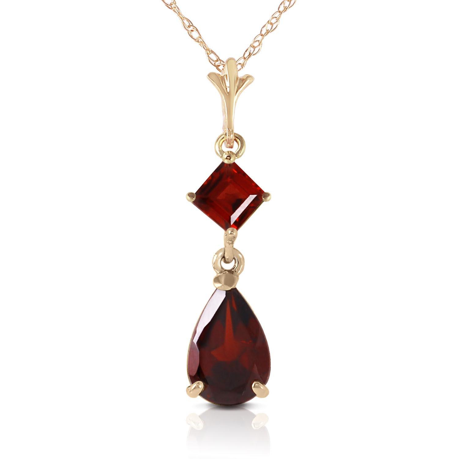 Garnet Droplet Pendant Necklace 2 Ctw In 9ct Gold Reviews | Qp Throughout 2019 Garnet January Droplet Pendant Necklaces (View 2 of 25)