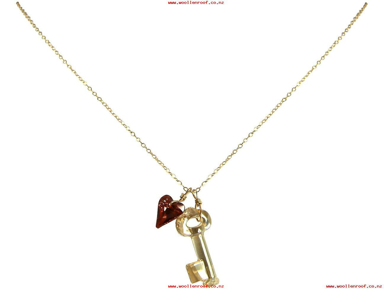 Gemshine – Ladies – Pendant – Necklace – Gold Plated – Key Intended For Most Current Beaded Heart Key Locket Element Necklaces (View 20 of 25)