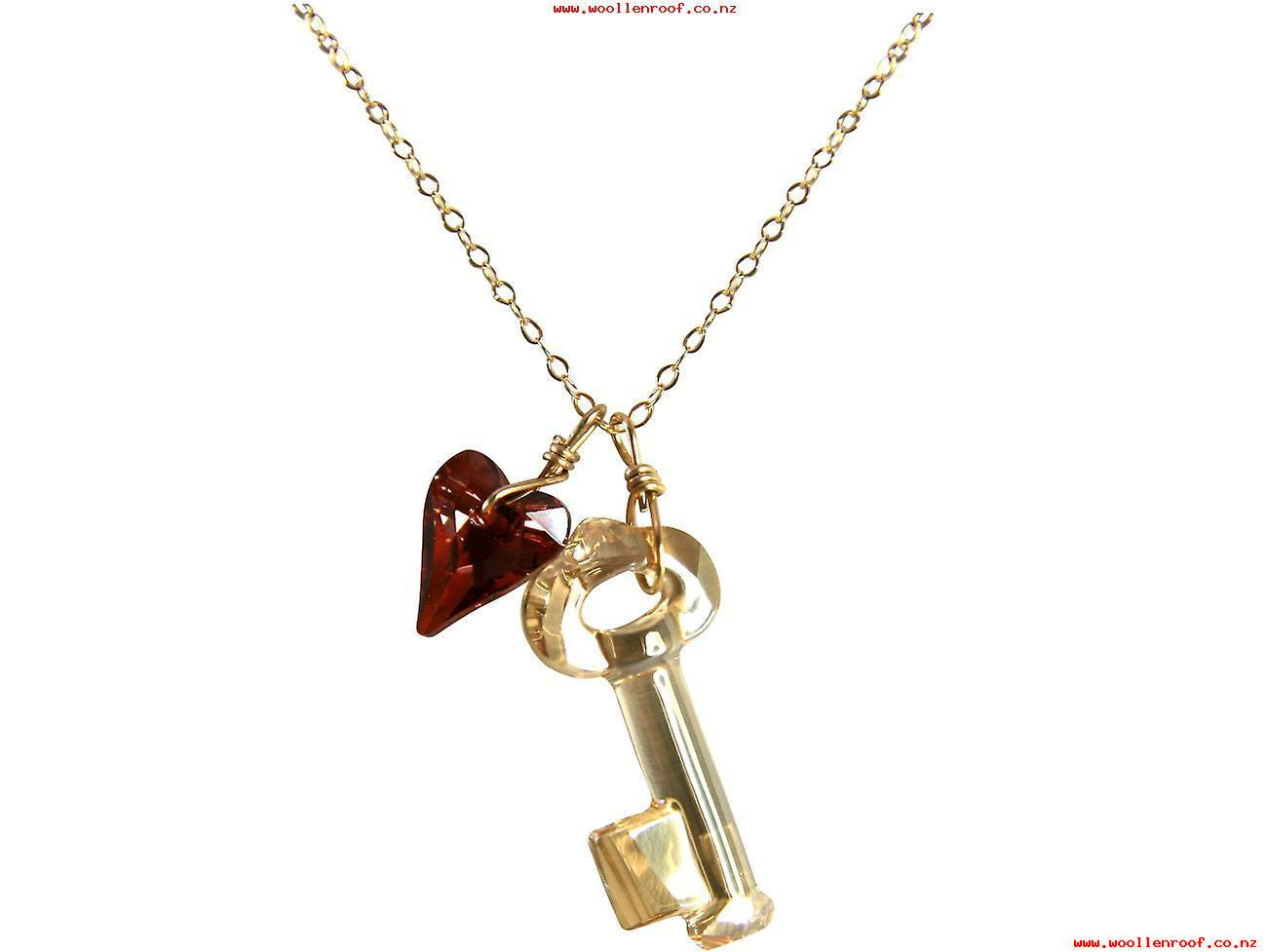 Gemshine – Ladies – Pendant – Necklace – Gold Plated – Key Within Recent Beaded Heart Key Locket Element Necklaces (View 9 of 25)