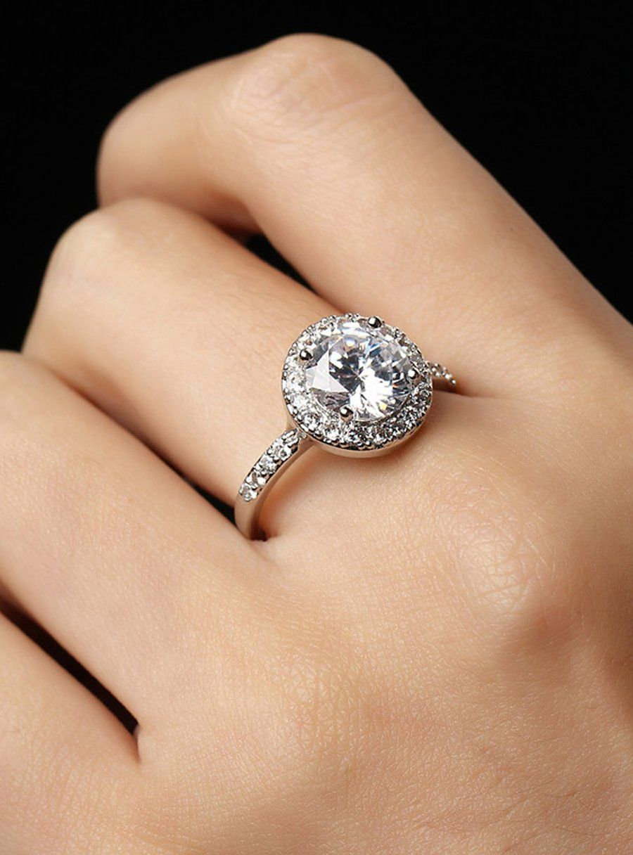 Genesis Halo Ring Ultra Shine Clear Crystal Cubic Zirconia Fashion With Regard To Newest Classic Sparkle Halo Rings (View 11 of 25)