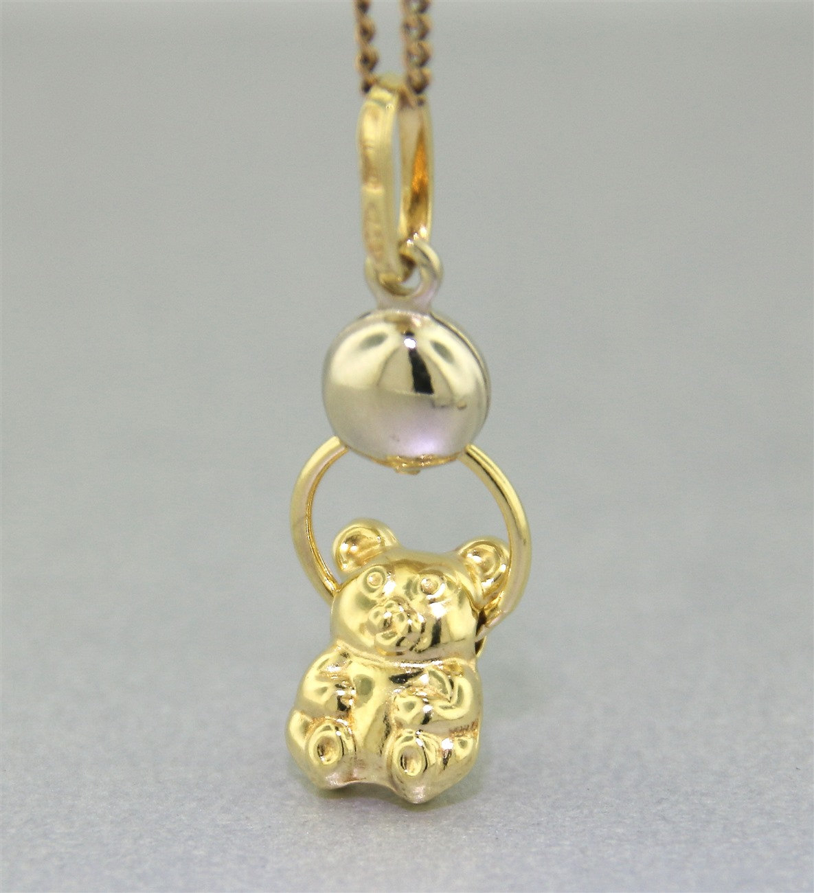 "Genuine 18k Gold ""moving Teddy Bear Charm Or Pendant"" Guaranteed Genuine 18k Yellow & White Gold Throughout Most Current Theodore Bear Pendant Necklaces (View 10 of 25)"