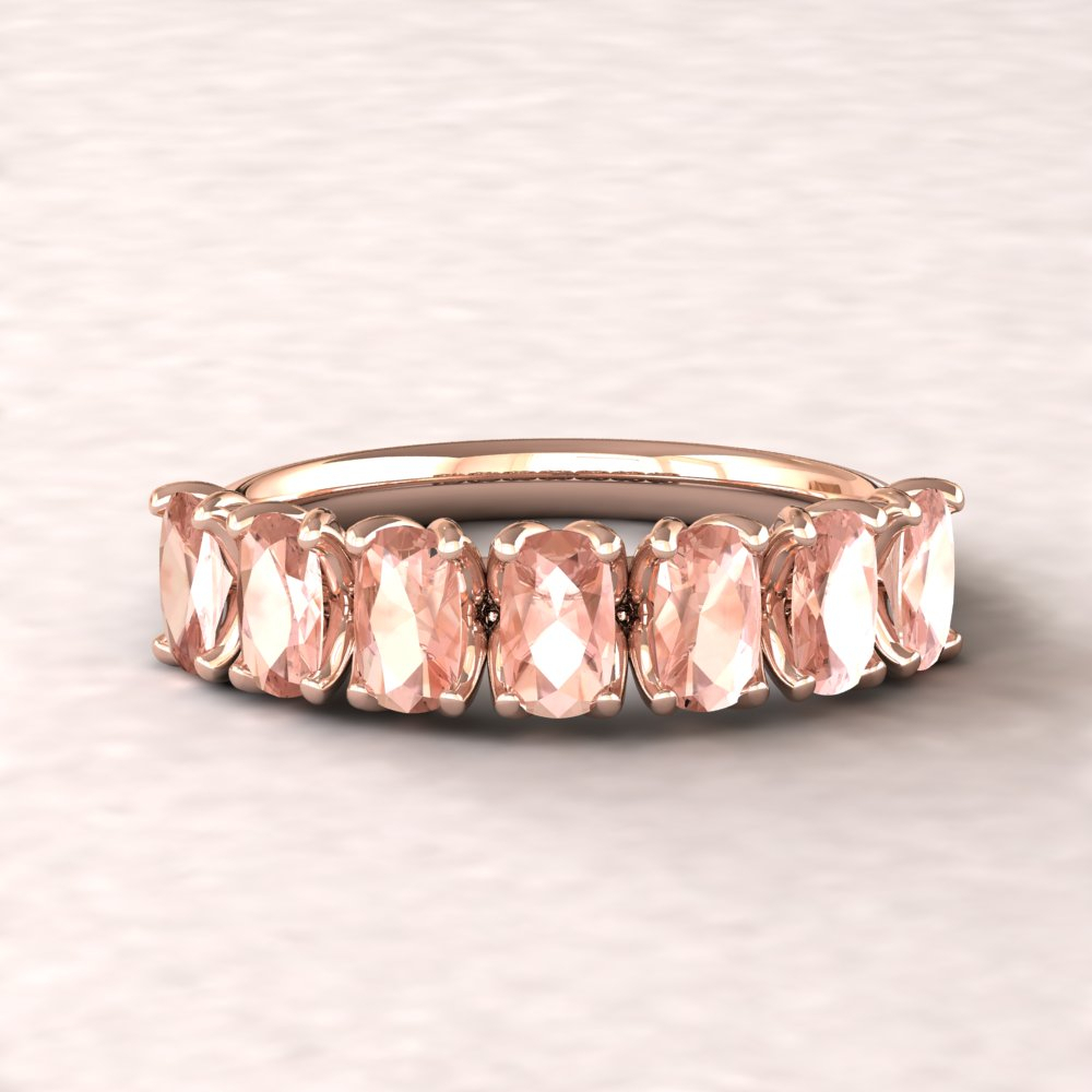 Genuine Rectangular Cushion Morganite 7 Stone Wedding Band With Regard To Most Current Composite Diamond Five Stone Anniversary Bands In White Gold (View 15 of 25)