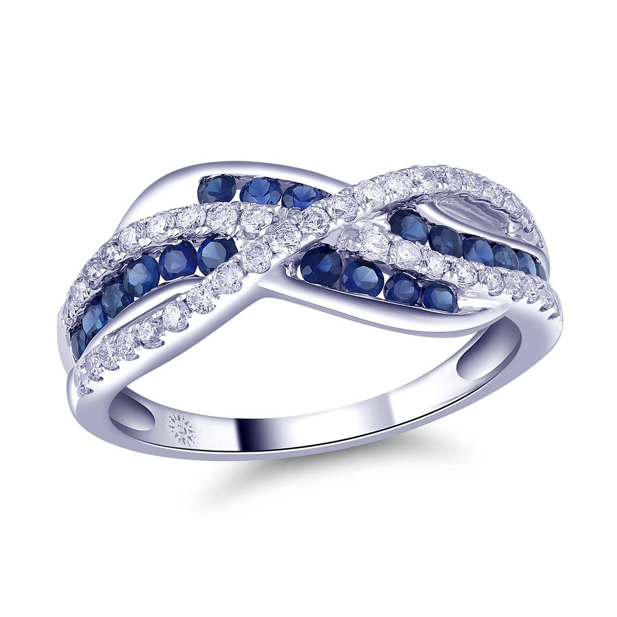 Genuine Sapphire And Diamond Multi Row Anniversary Band In 14K White Gold,  3/8Ctw Regarding Best And Newest Diamond Multi Row Anniversary Bands In White Gold (View 19 of 25)