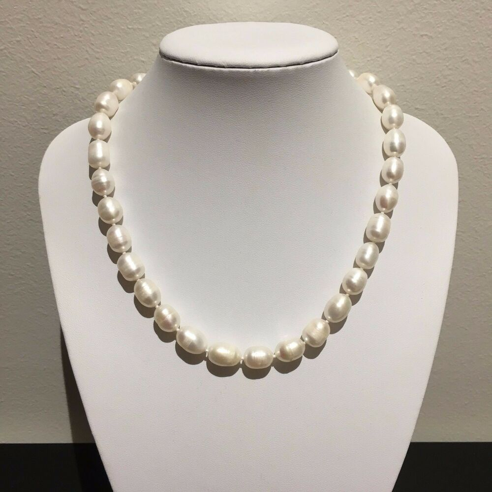 Genuine White Cultured Freshwater Pearl Bead Necklace | Ebay Throughout Latest Freshwater Cultured Pearls & Beads Necklaces (View 18 of 25)