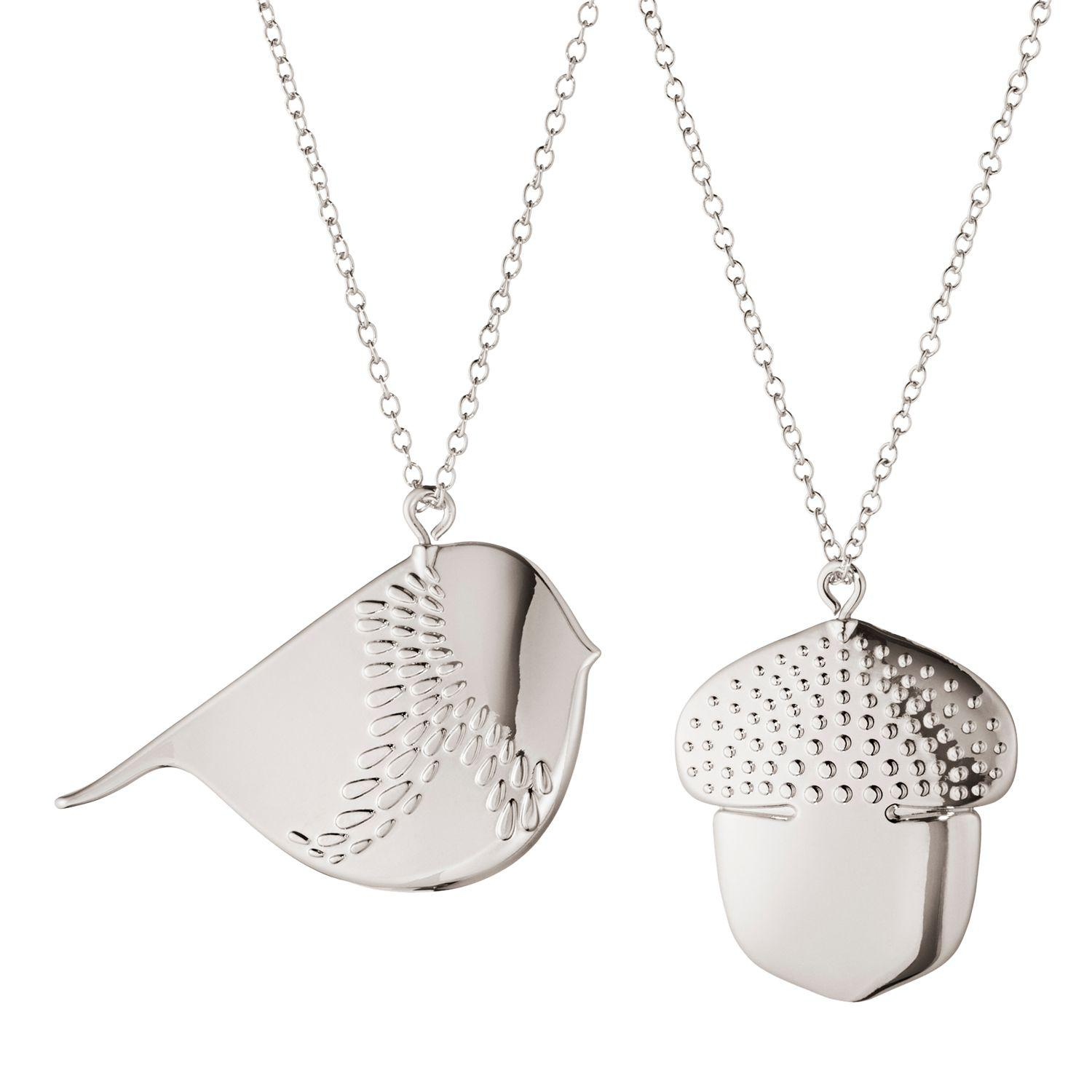Georg Jensen Acorn & Winter Bird Christmas Tree Decorations – Lyst With Most Recent Twinkling Christmas Tree Locket Element Necklaces (View 6 of 25)