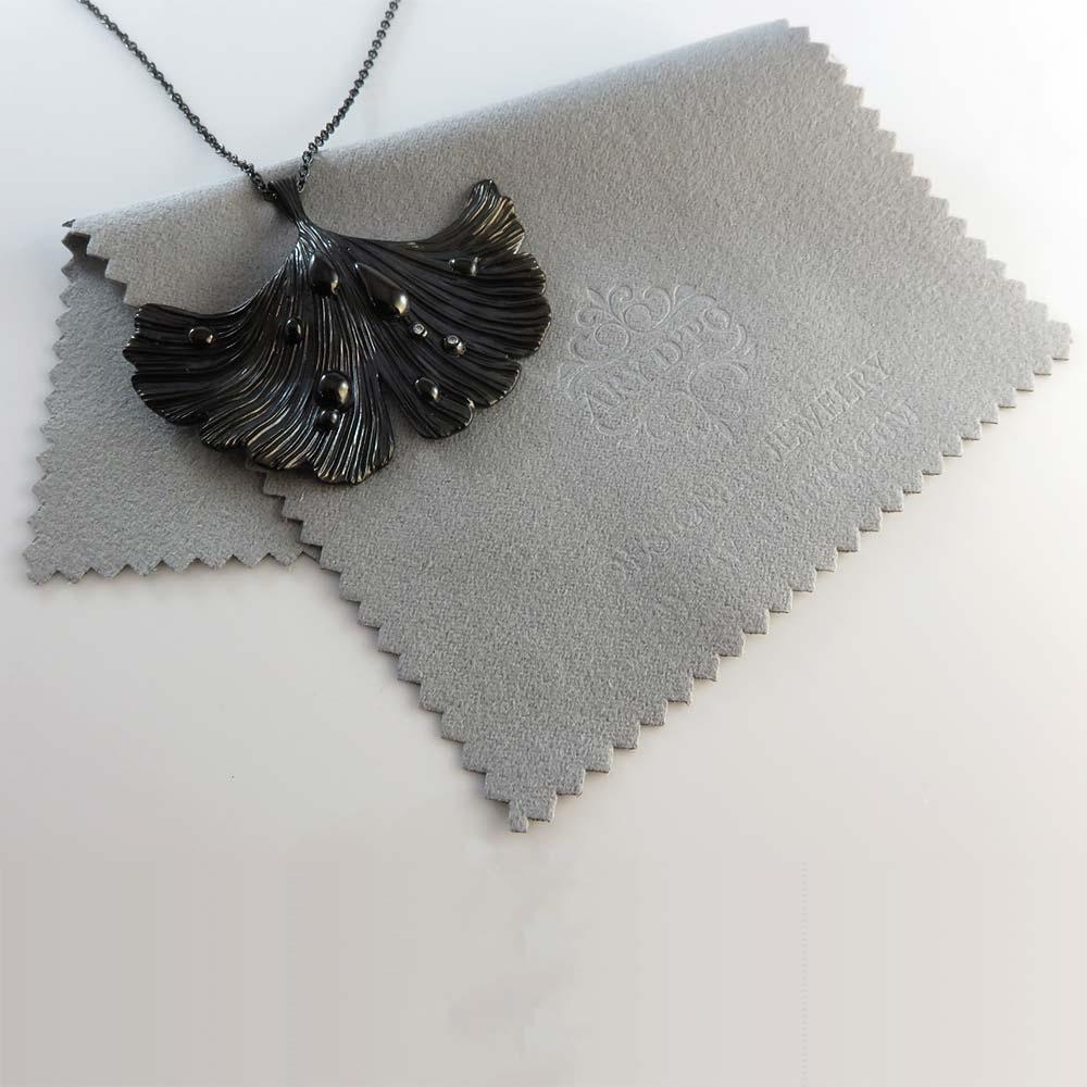 Ginkgo Leaf Pendant Necklace Jet Black Rhodium Over Brass Regarding Most Recent Shining Leaf Pendant Necklaces (View 9 of 25)