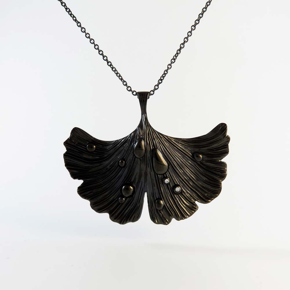 Ginkgo Leaf Pendant Necklace Jet Black Rhodium Over Brass With Most Recent Shining Leaf Pendant Necklaces (Gallery 9 of 25)