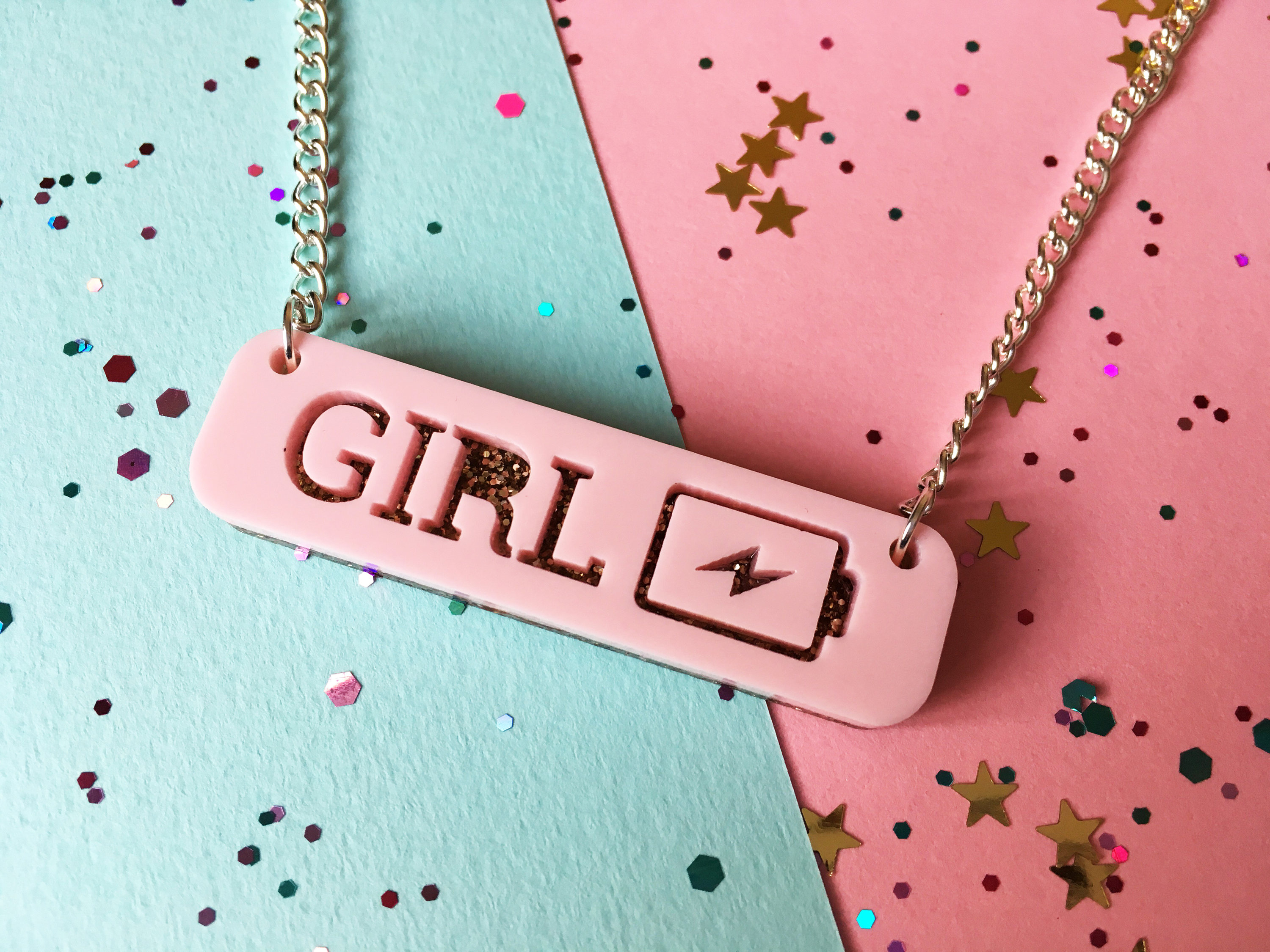 Girl Power Necklace, Girl Power Jewellery, Feminist Jewellery, Grl Pwr,  Spice Girls, Women Empowerment, Gift For Her, Sister Gift, Teen Gift In Newest Female Empowerment Motto Pendant Necklaces (View 13 of 25)