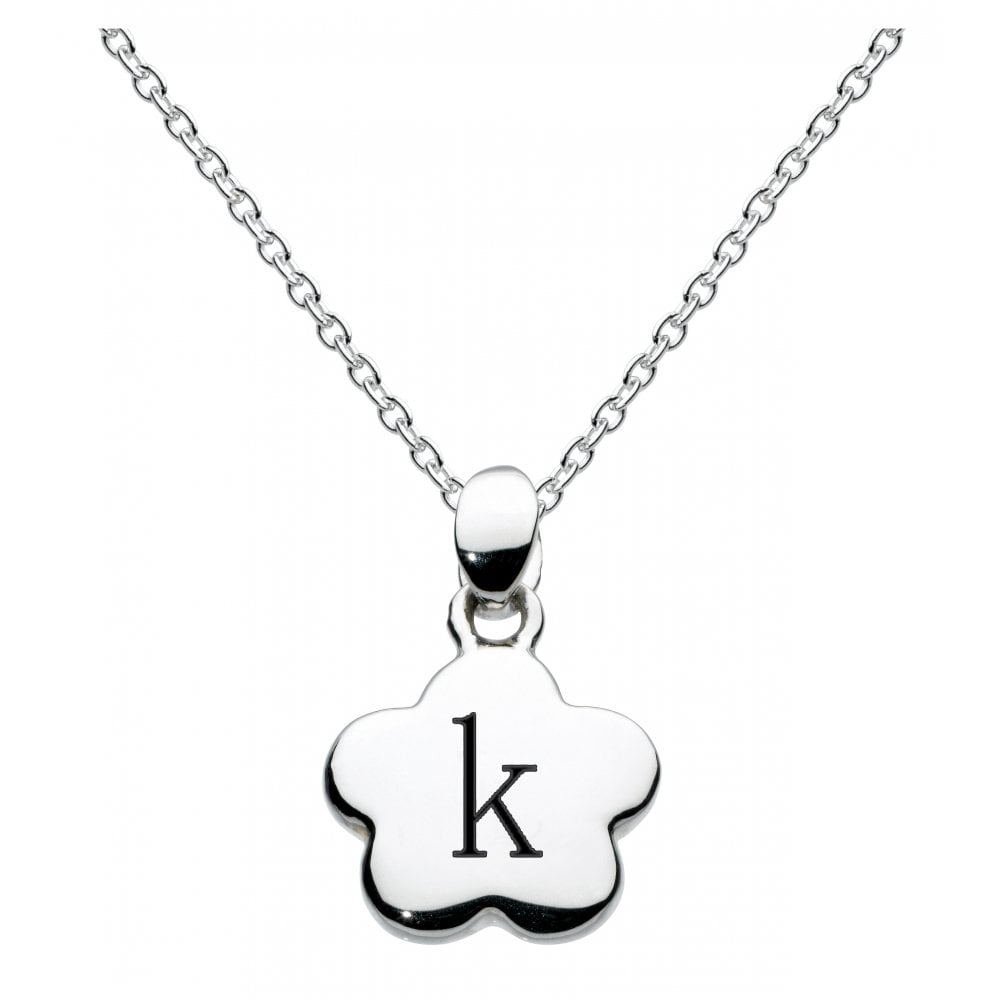 Girls Alphabet Flower Initial K Necklace In Best And Newest Letter K Alphabet Locket Element Necklaces (View 5 of 25)
