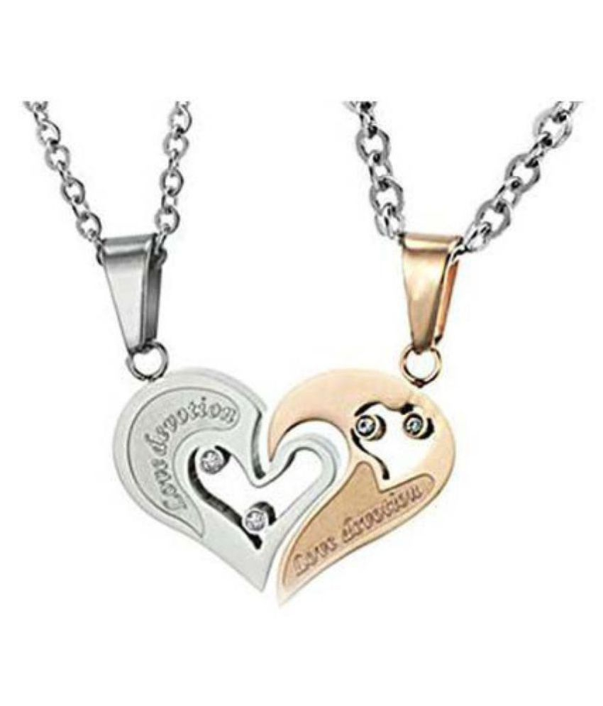 Girlz Fashion Valentine Special Stainless Steel Titanium Heart Couple Pendant Necklace With Chains (2 Pieces – His And Her) Throughout Most Current Joined Hearts Chain Necklaces (View 16 of 25)