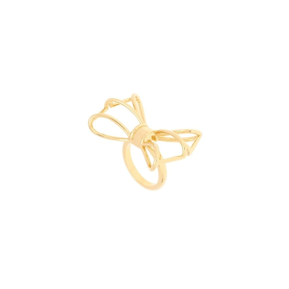 Gizele Geometric Bow Yellow Gold Ring (Small – Medium) Throughout Newest Classic Bow Rings (View 23 of 25)