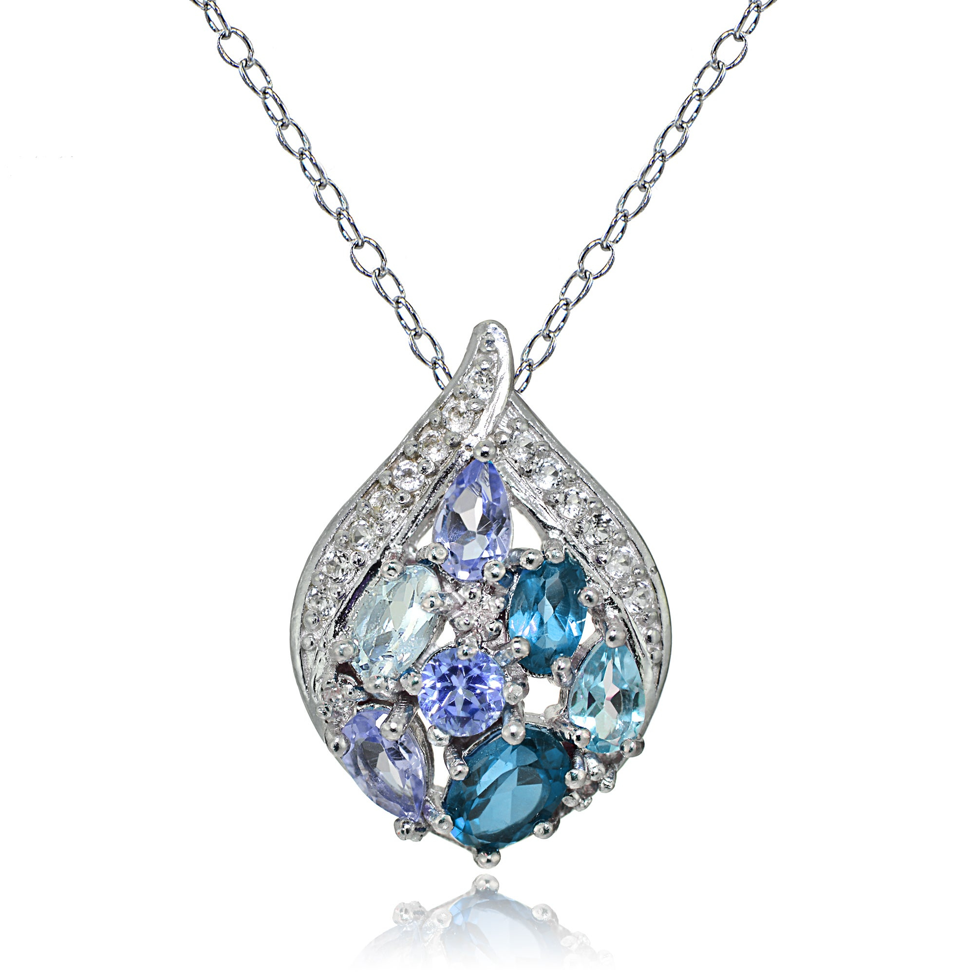 Glitzy Rocks Sterling Silver Tanzanite, Aquamarine, London Blue And White Topaz Cluster Tonal Teardrop Necklace With Newest London Blue Crystal December Droplet Pendant Necklaces (View 14 of 25)