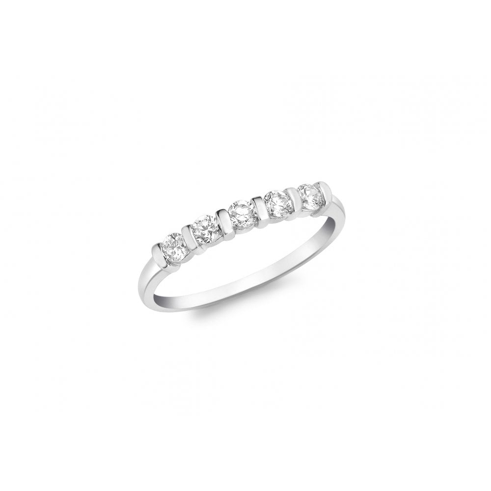 Gold Collection – 9Ct White Gold Five Stone Bar Setting Ring With 2019 Diamond Five Stone Bar Set Anniversary Bands In White Gold (View 15 of 25)