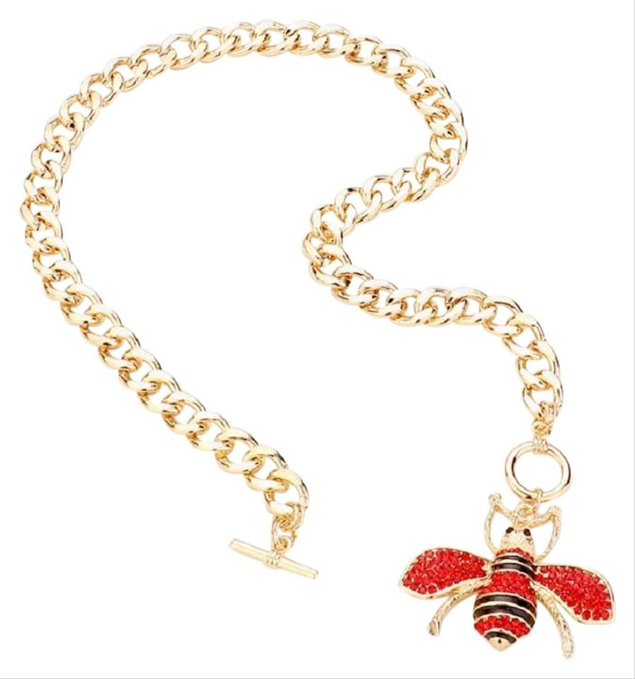 Gold Crystal Pave Queen Bee Pendant Toggle Necklace Pertaining To Latest Queen Bee Pendant Necklaces (View 6 of 25)