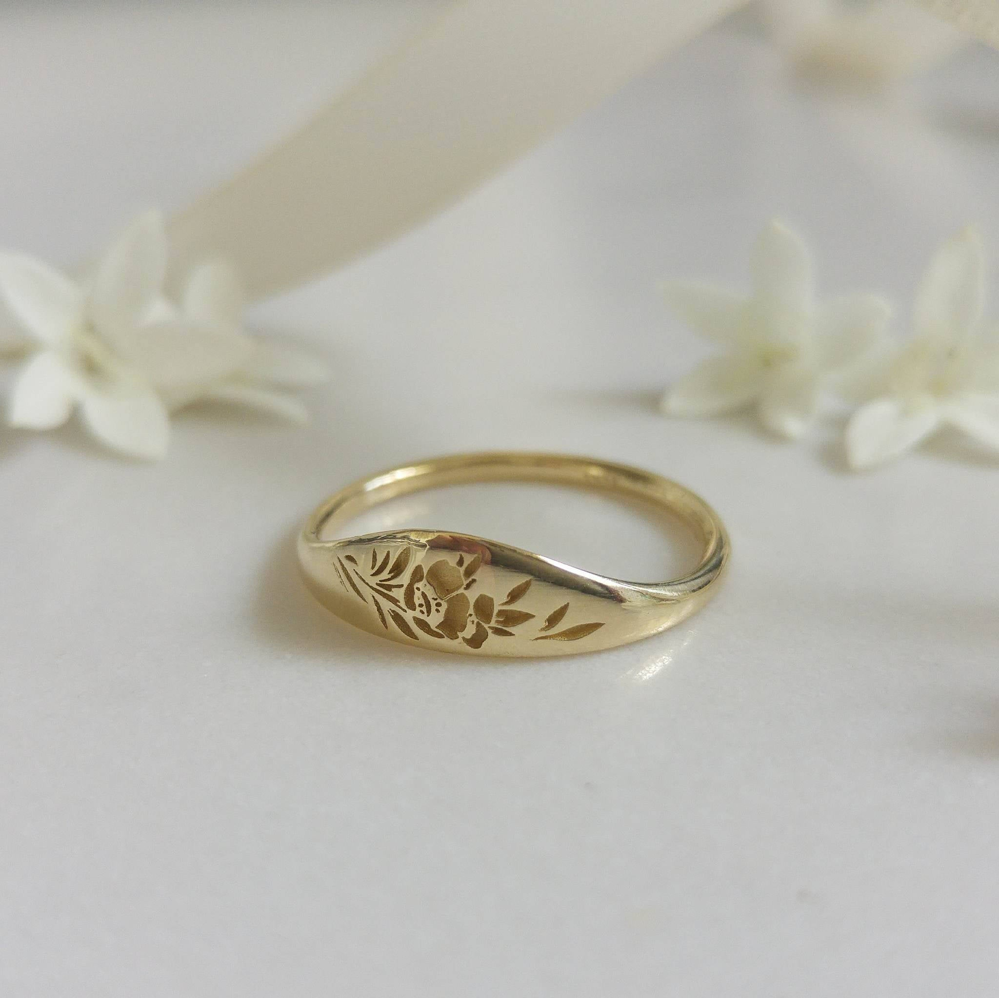 Gold Flower Signet Ring, Vintage Style Floral Crown Ring For Women, Unique Gold Wedding Ring, 14K Gold Wedding Band, Flower Wedding Band With Most Up To Date Flower Crown Rings (View 6 of 25)