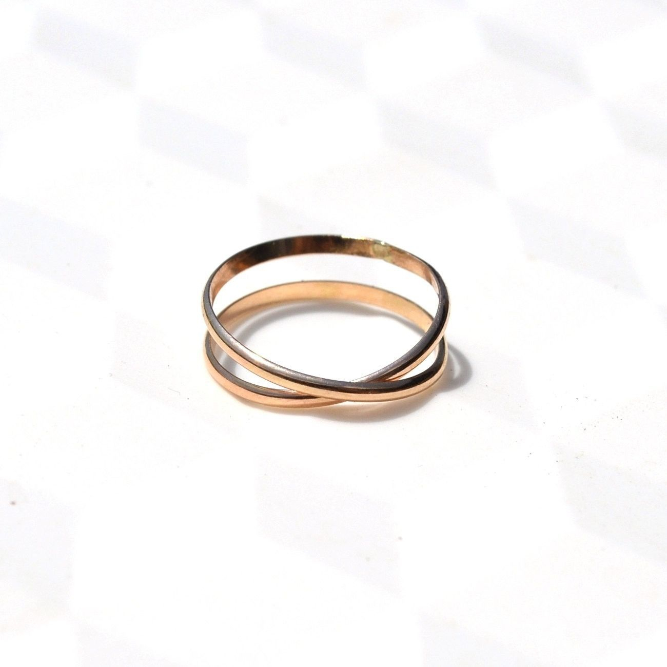 Gold Infinity Band. Criss Cross Ring. Simple Wedding Band (View 5 of 25)