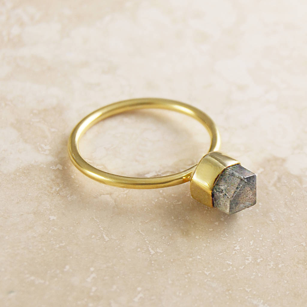 Gold Labradorite Geometric Crown Statement Ring For Most Up To Date Geometric Crown Rings (View 10 of 15)