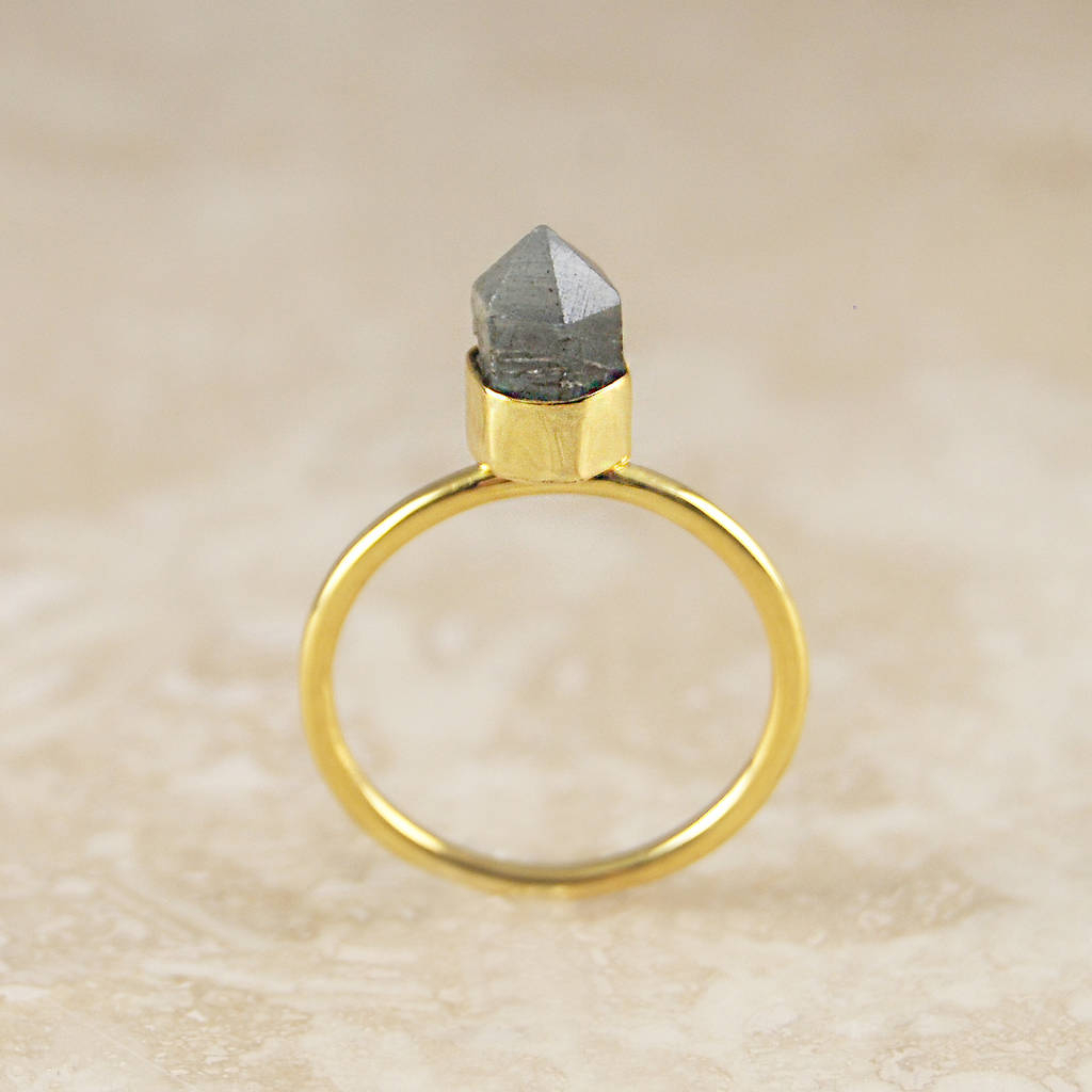Gold Labradorite Geometric Crown Statement Ring With Regard To Most Popular Geometric Crown Rings (View 7 of 15)