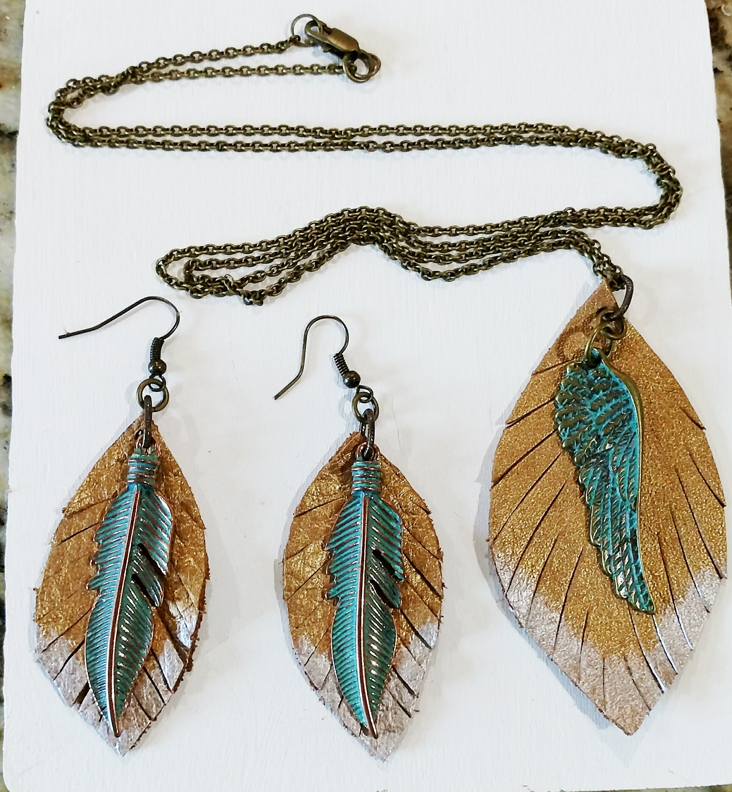 Gold Leather Feather Earrings And Necklace With Turquoise Feather Charms In Recent Golden Tan Leather Feather Choker Necklaces (View 12 of 25)